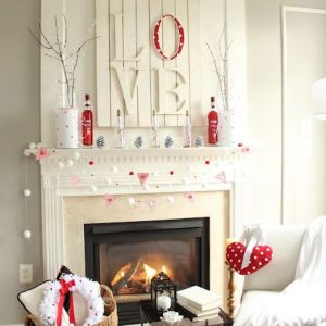 Valentine and Winter Themed Fireplace Mantles