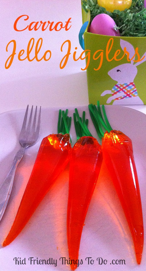 These are so darn cute! The kids are going to love eating Carrot Jello Jigglers on Easter Sunday!