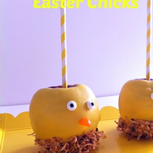 Chocolate Covered Apple Easter Chickens! What a cute decoration for the Easter table, or even a barnyard party!