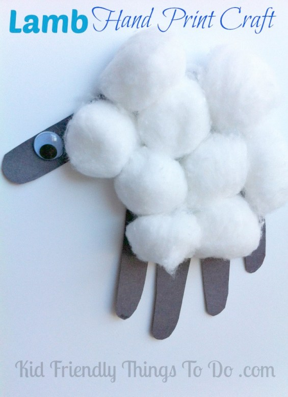 Lamb Hand Print Craft - great for follow up lesson on lion and the lamb for Easter