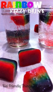 Rainbow Fizzy Drinks - The effect from the Popsicle ice cubes is so awesome. You have to check this out!