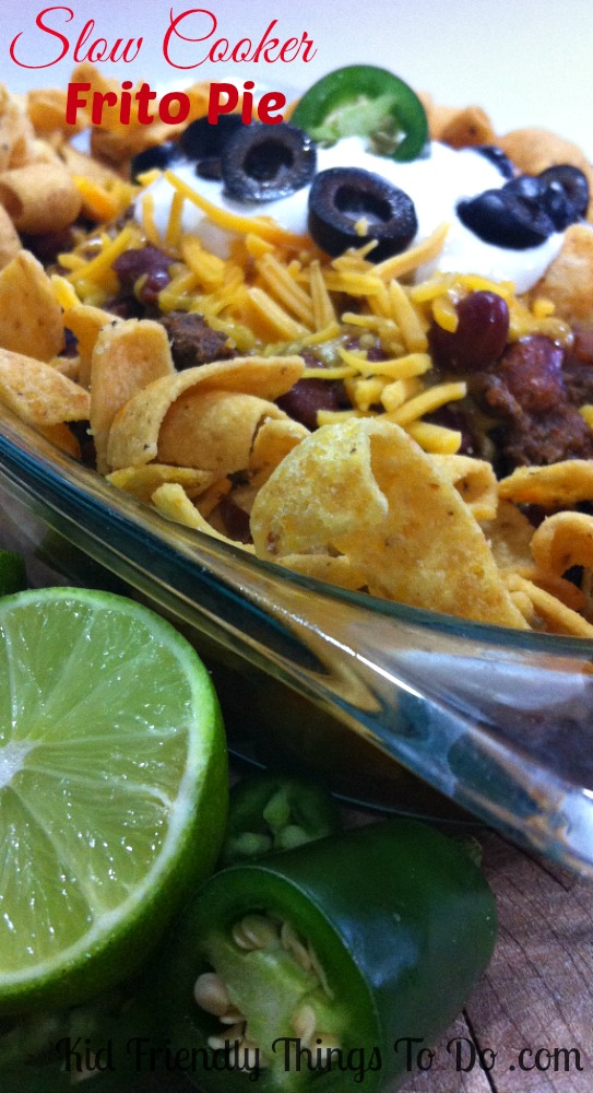 There's nothing better than a build your own Frito Pie. Slow Cooker Recipe for Frito Pie with Chilli Con Carne. Delicious and fun