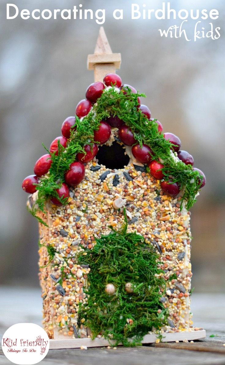 Decorating birdhouses with edible bird seed glue craft for Bird seed glue recipe