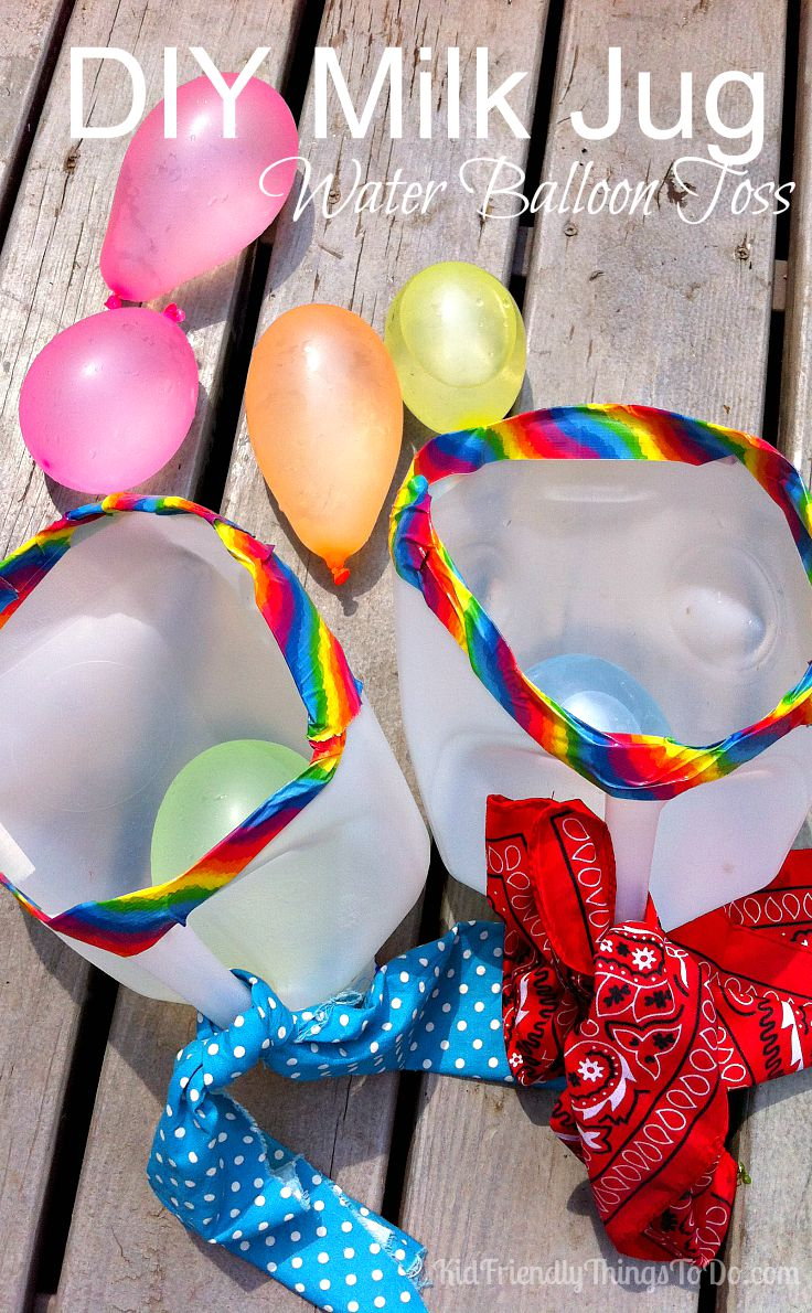 Milk Jug Water Balloon Launch Summer Game For Kids! Easy to make, less balloons to fill, entertainment for the kids, and a chance to cool off! A Win, Win for everyone! Adults love this game, too! Perfect for an Amazing Race Event!