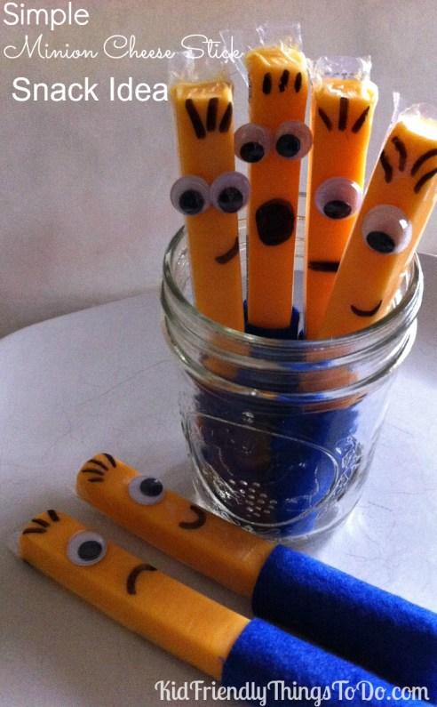 Easy Minion Cheese Stick Snacks!  What an awesome idea for a Minion or Despicable Me party! Oh my goodness...so many Minion ideas on this site!