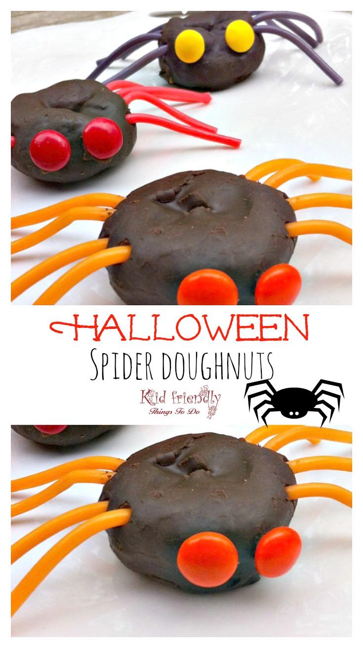 The easiest fun food for Halloween parties! Mini Spider Doughnuts! www.kidfriendlythingstodo.com