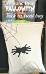 DIY handprint Halloween Spider Candy Bag using a pillowcase! Make your own spider loot bag for Halloween! Simple, and so cute! KidFriendlyThingsToDo.com