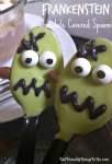 Frankenstein Chocolate Covered Spoons - A Halloween Fun Food - KidFriendlyThingsToDo.com