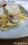 Slow Cooker Chicken In Sour Cream Sauce Recipe - sour cream, mushrooms, pasta, and chicken! A winning combination! Yum! - KidFriendlyThingsToDo.com