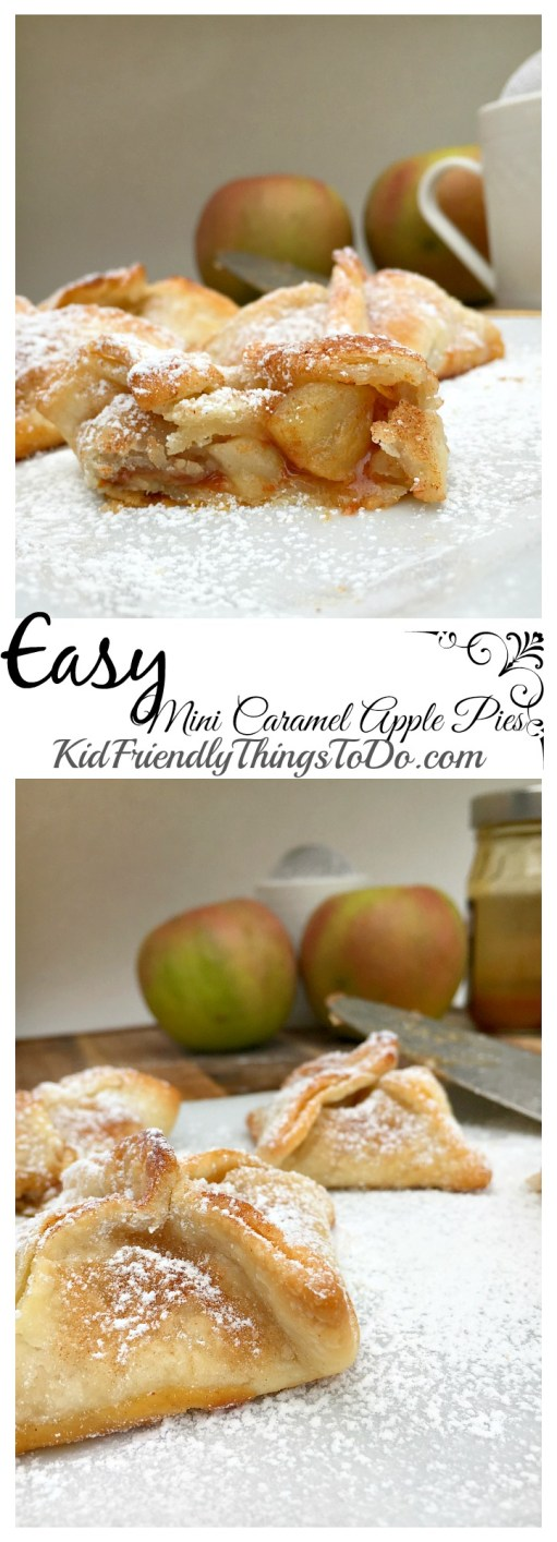 Easy Mini Caramel Apple Pies. You'll be amazed at how easy and tasty these are!  - KidFriendlyThingsToDo.com