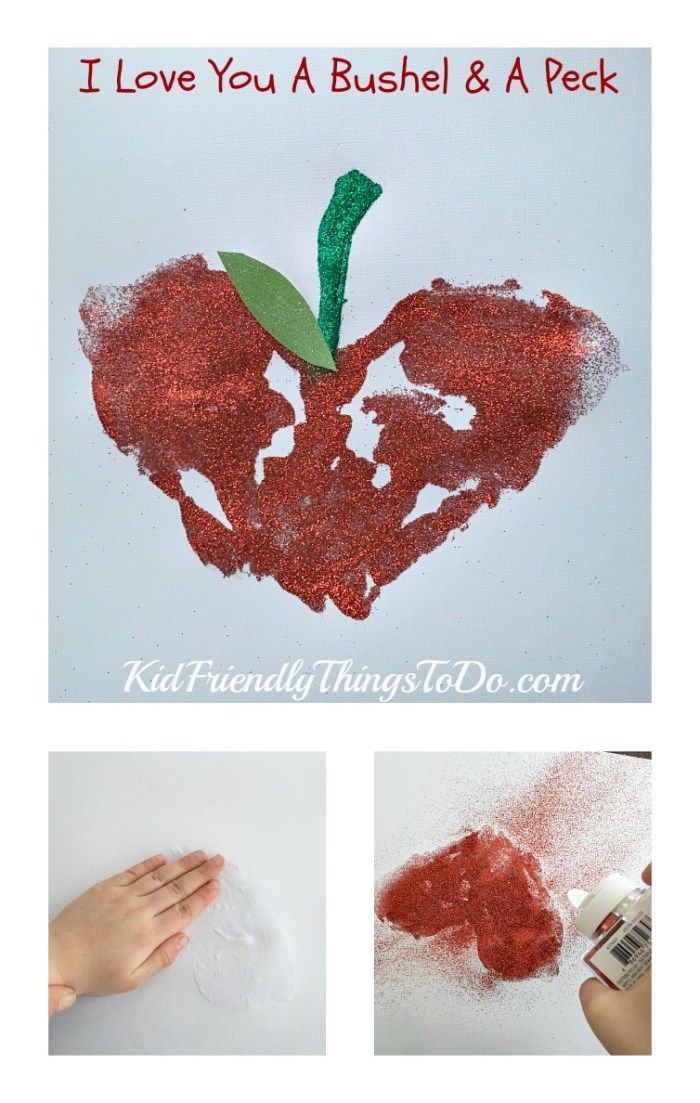 I Love You A Bushel & A Peck Sentimental Handprint Craft - KidFriendlyThingsToDo.com