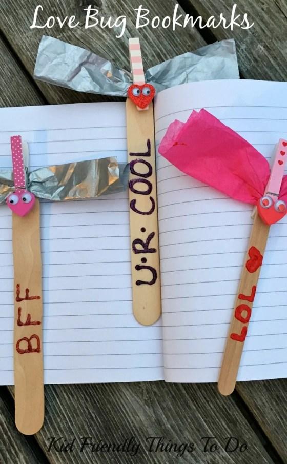 Love Bug Valentine Bookmark Craft - KidFriendlyThingsToDo.com
