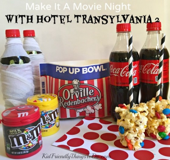 Make It A Movie Night Hotel Transylvania, M&M Popcorn Balls and Coca-Cola - KidFriendlyThingsToDo.com