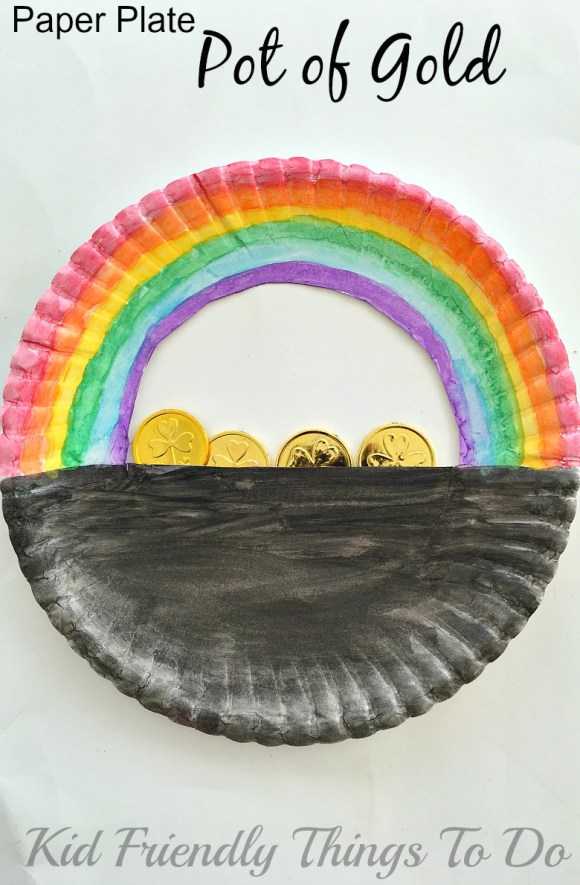 Simple Paper Plate Pot of Gold St. Patrick's Day Craft For Kids - KidFriendlyThingsToDo.com