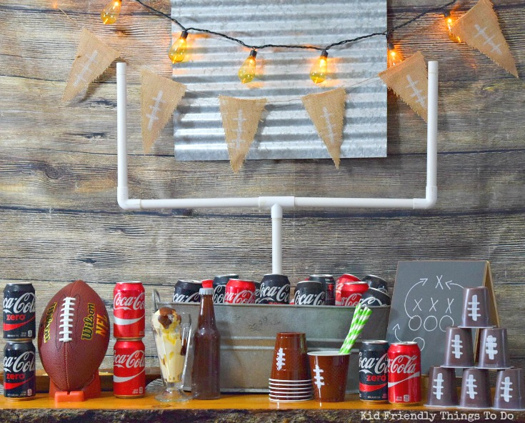 Football Watch Party Ideas and Football Cup Cozies! Games, Food and more! So fun ideas in this post! - www.kidfriendlythingstodo.com