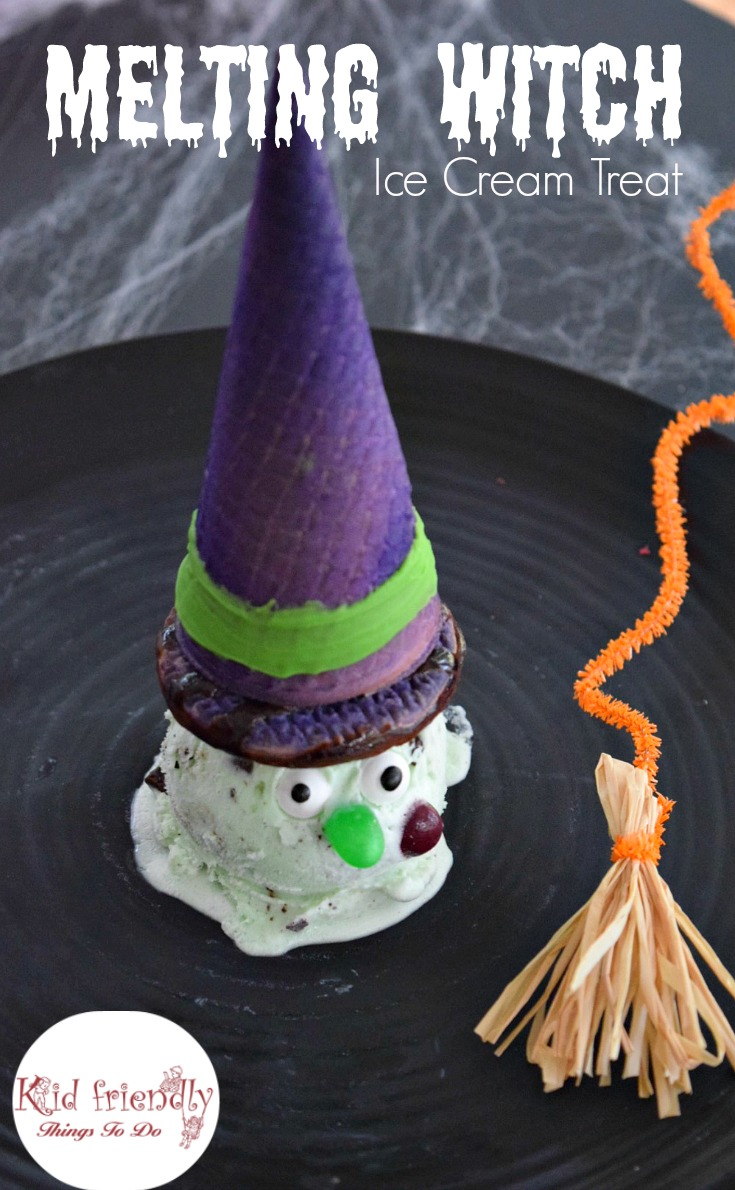 Melting Witch Ice Cream Treat For Kids on Halloween - Such a fun and simple to make Halloween Snack! A Perfect fun food treat or dessert for those Halloween parties! www.kidfriendlythingstodo.com