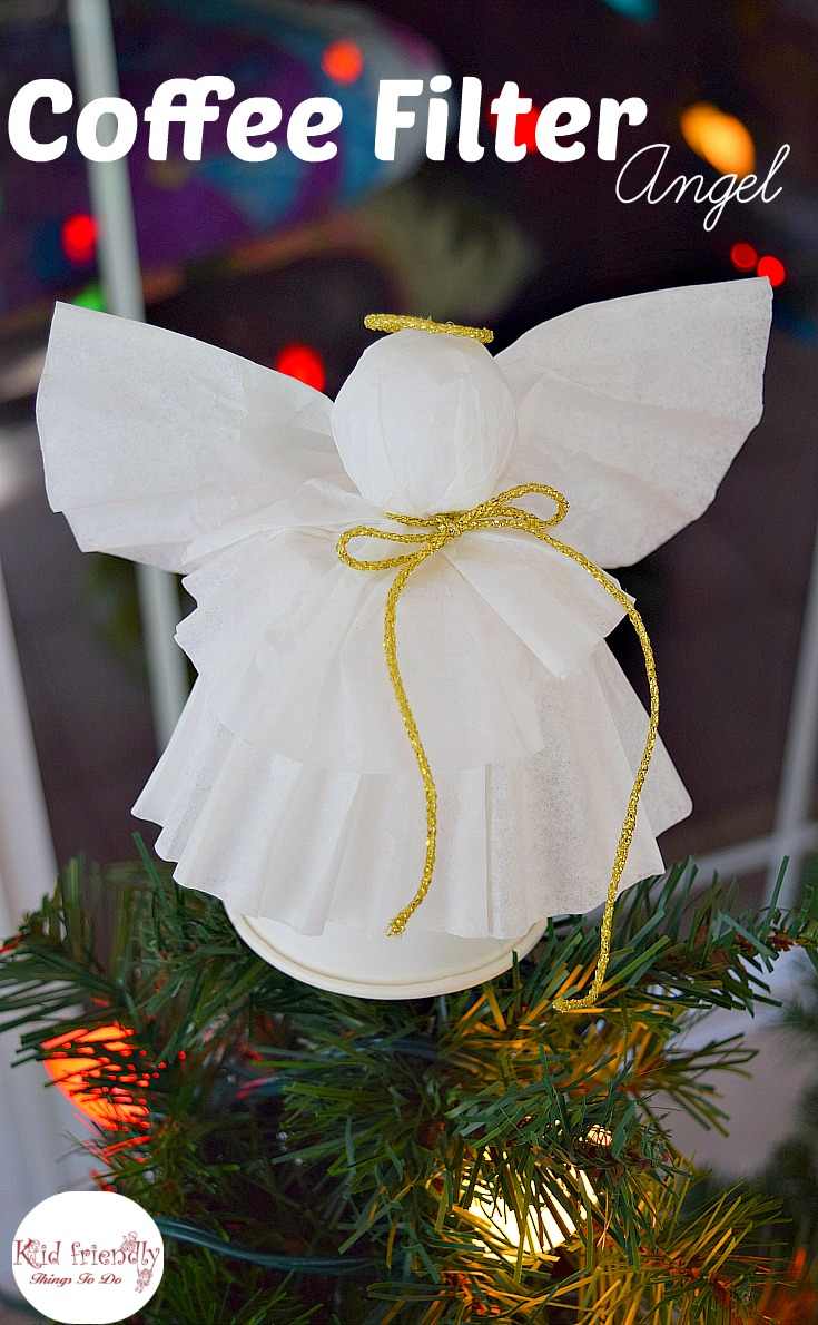 A Simple Coffee Filter Angel Christmas Tree Topper Craft for Kids to Make - Great Christmas decoration, and ornament. www.kidfriendlythingstodo.com