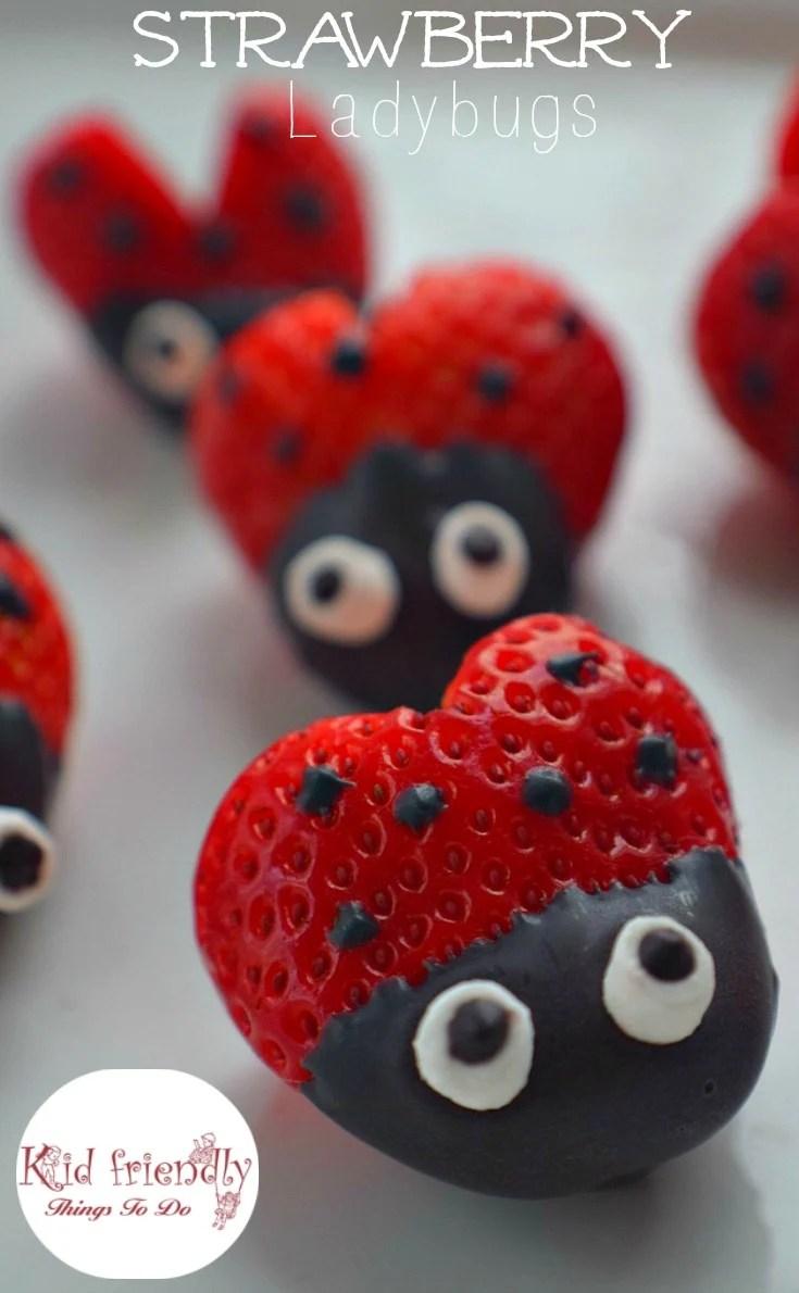 Heart Shaped Chocolate Covered Strawberry Ladybugs Fun Food Treat on Ladybug Fun