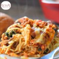 Spinach & Mushroom Baked Spaghetti Casserole Recipe - Easy and delicious. Made with cottage cheese. www.kidfriendlythingstodo.com