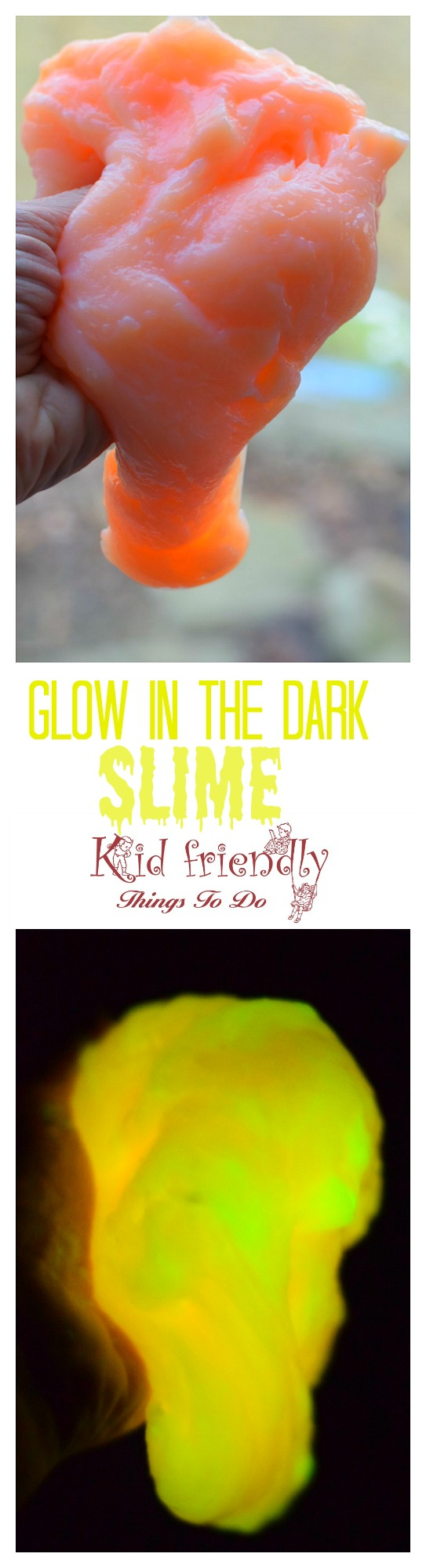 How to make Easy Glow in the dark slime with 4 ingredients! So much fun to do with the kids. You can substitute liquid starch if you don't want borax. www.kidfriendlythingstodo.com