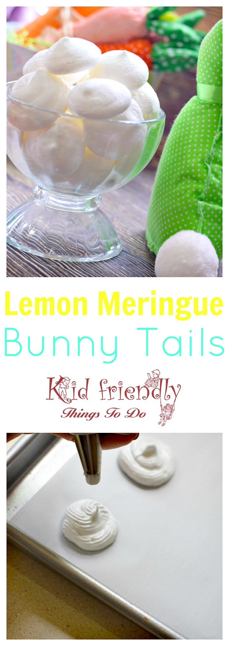 Lemon Meringue Bunny Tail Cookie Recipe for a fun Easter, spring or summer treat! www.kidfriendlythingstodo.com fun food idea for kids