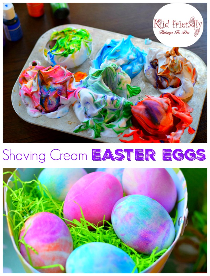 Decorate a batch of hard-boiled eggs with this fun twist on the traditional. Instead of using vinegar, foamy shaving cream makes a perfect medium for swirly food coloring.