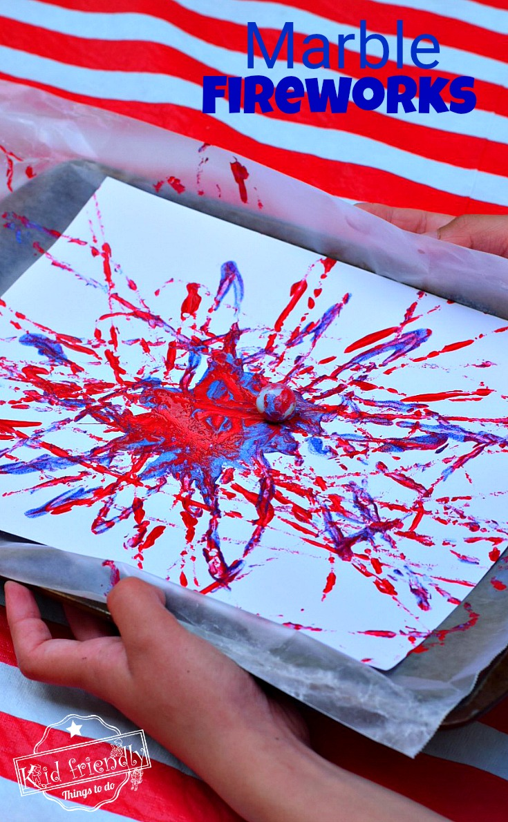 Fireworks Marble Painting Craft Easy and Fun for Kids - Perfect for patriotic holidays like the Fourth of July, Summer Bonfire Nights, and New Year's Eve with the kids! www