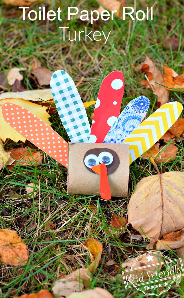 Make a cute little turkey out of a toilet paper tube for Easy things to make out of paper for kids