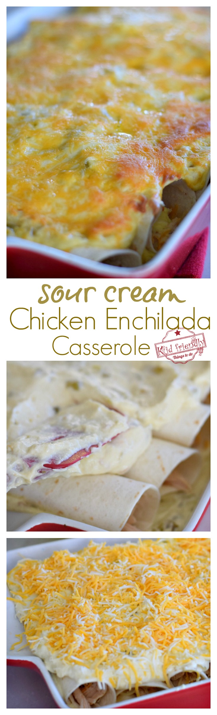 Easy Sour Cream Chicken Enchilada Casserole Recipe - Just Like Mom Used To Make - Delicious, classic casserole the whole family will love . Leftovers are even better! www.kidfriendlythingstodo.com