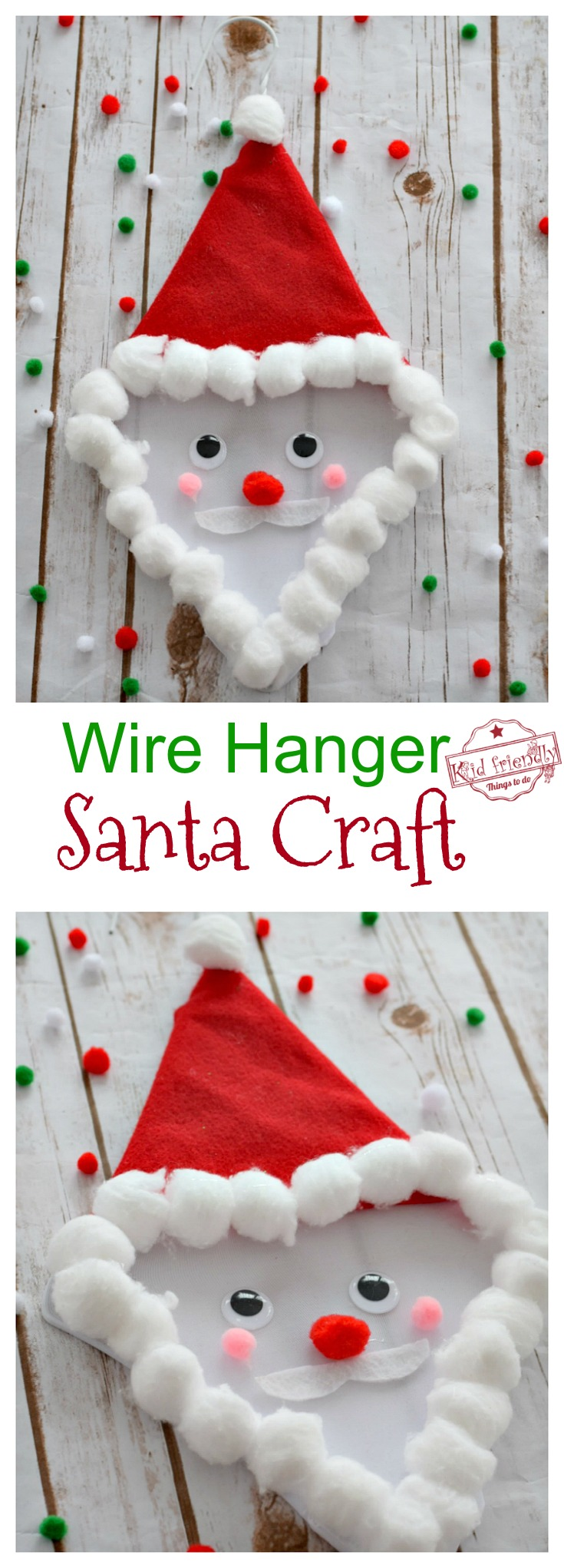 Make A Cute Santa Claus Out of A Coat Hanger! - Easy Kid's or Preschool Craft for Christmas - Adorable - Hang it up for Christmas Cheer! www.kidfriendlythingstodo.com
