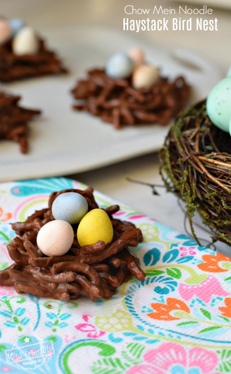Chocolate and Butterscotch Haystack Cookie Recipe With Chow Mein Noodles Made Into Adorable Bird Nests! These are so easy and so much fun! Perfect treat for Spring, summer or Easter time with the kids! www.kidfriendlythingstodo.com