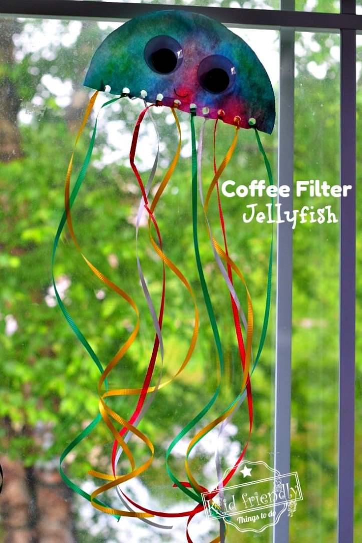 Jellyfish Coffee Filter Ocean Craft for Kindergarten Kids