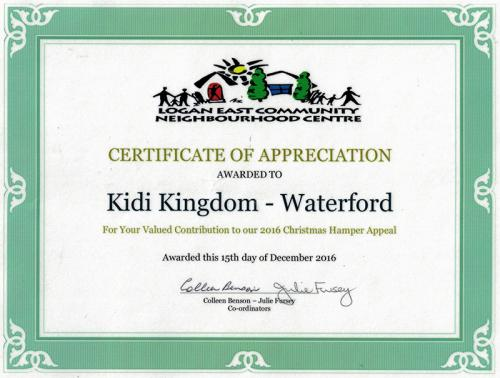 Certificate Of Appreciation - Kidi Kingdom Child Care Centre Waterford West