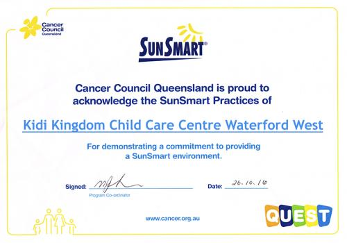 We Are SunSmart - Certificate -Kidi Kingdom Child Care Centre Waterford West