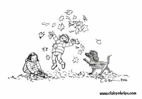 Brush and ink drawing of two children and a dog throwing Autumn leaves in the air. A children's picture book style illustration