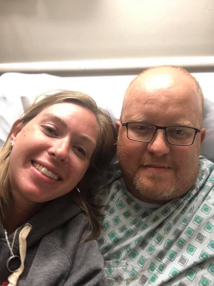 My daughter and Bryan just before his surgery