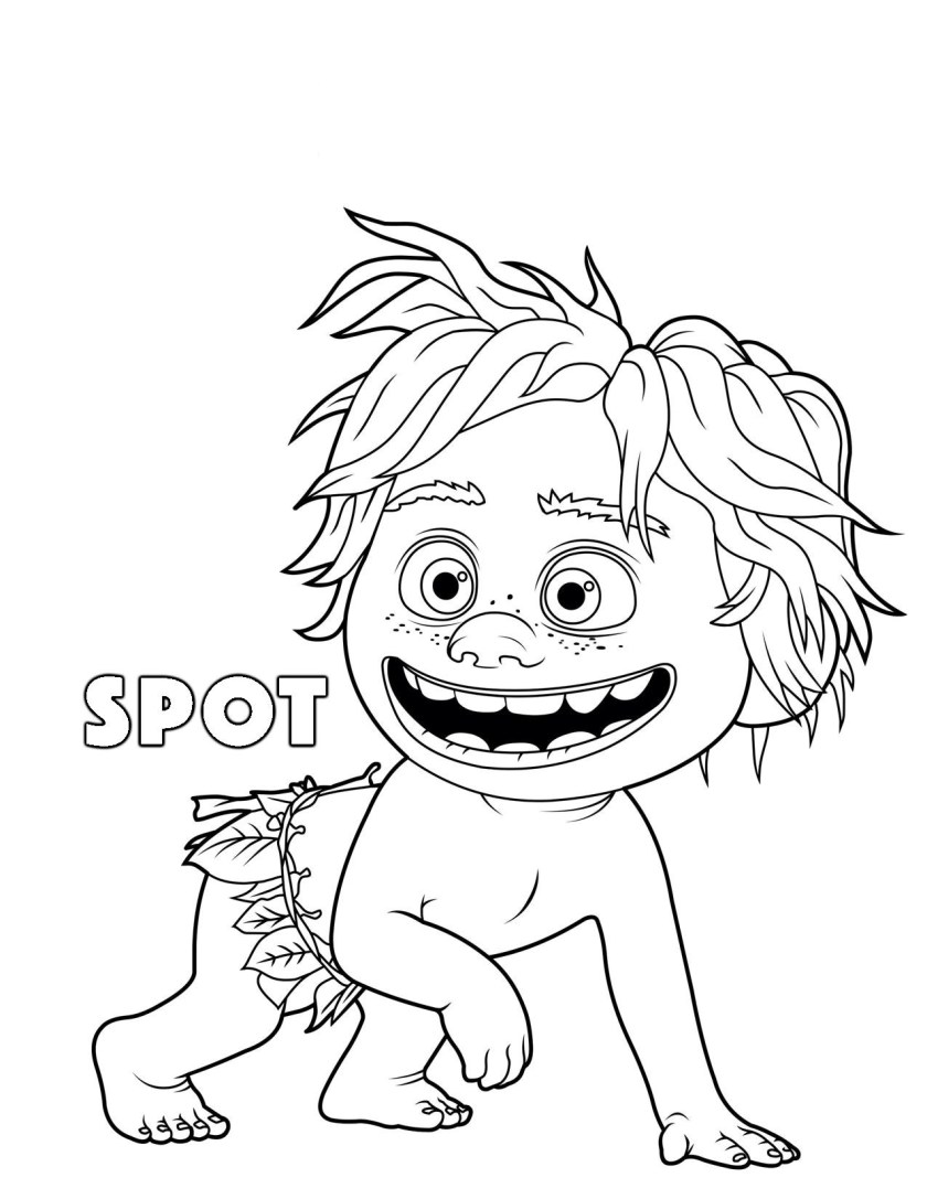 Printable the good dinosaur Spot coloring pages for kids