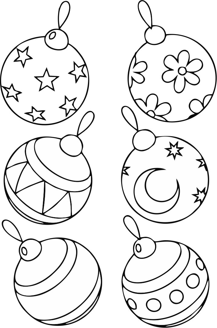 bauble decorating a Christmas tree coloring page