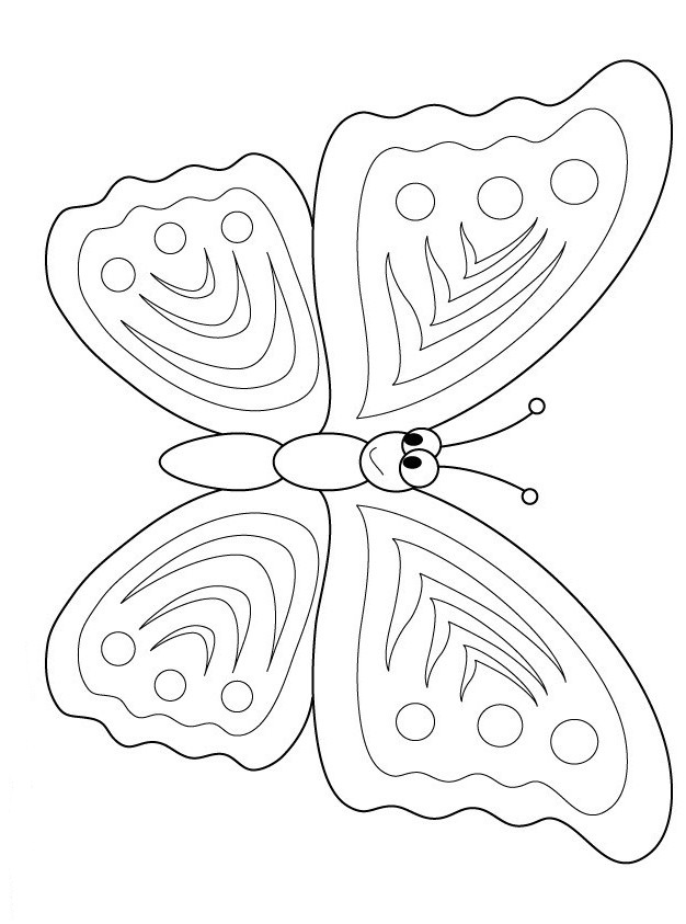 Printable insects Happy Butterfly coloring sheet
