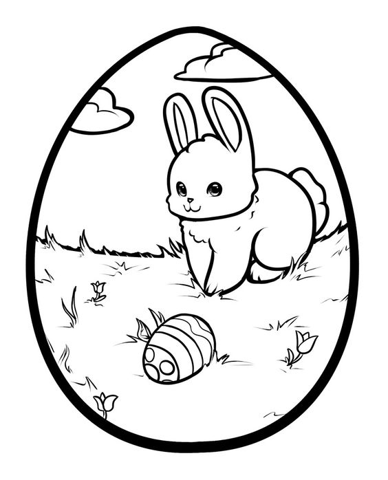 Easter Bunny Egg Coloring Pages print out