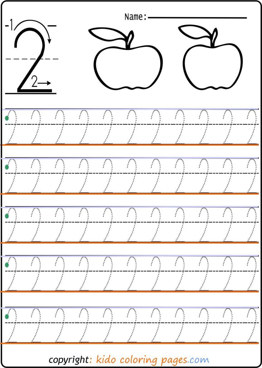 number tracing worksheets 2 kindergarten print out