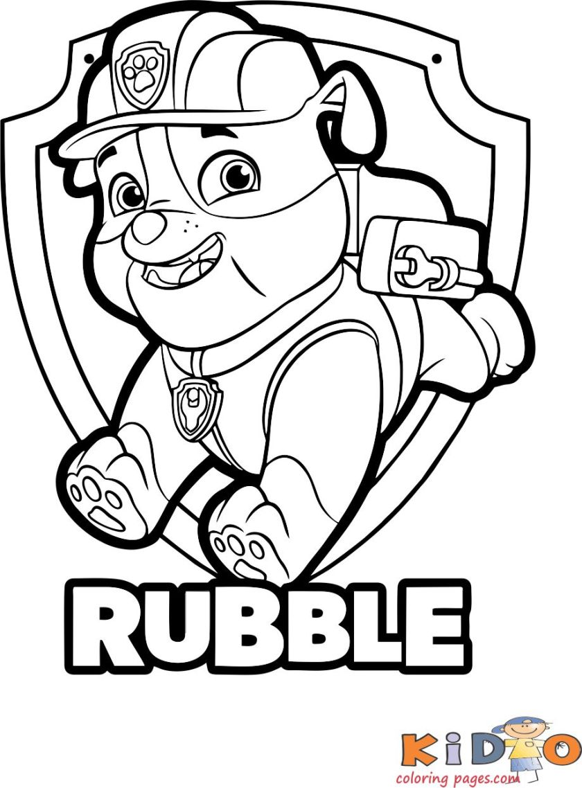 paw patrol rubble coloring pages to print  kids coloring