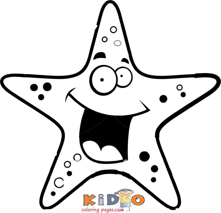 print out starfish coloring in page for kids