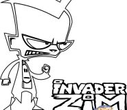 Printable invader zim Dib coloring pages for kids
