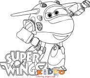 super wings Jett coloring page printable