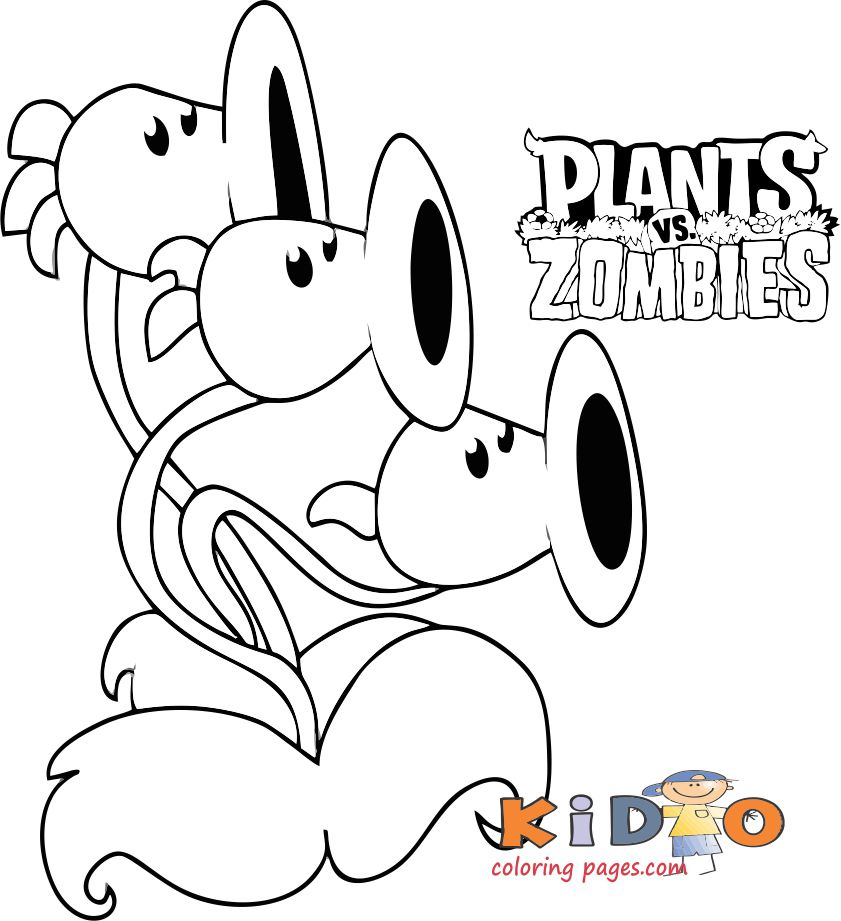 Threepeater coloring pages plants vs zombies