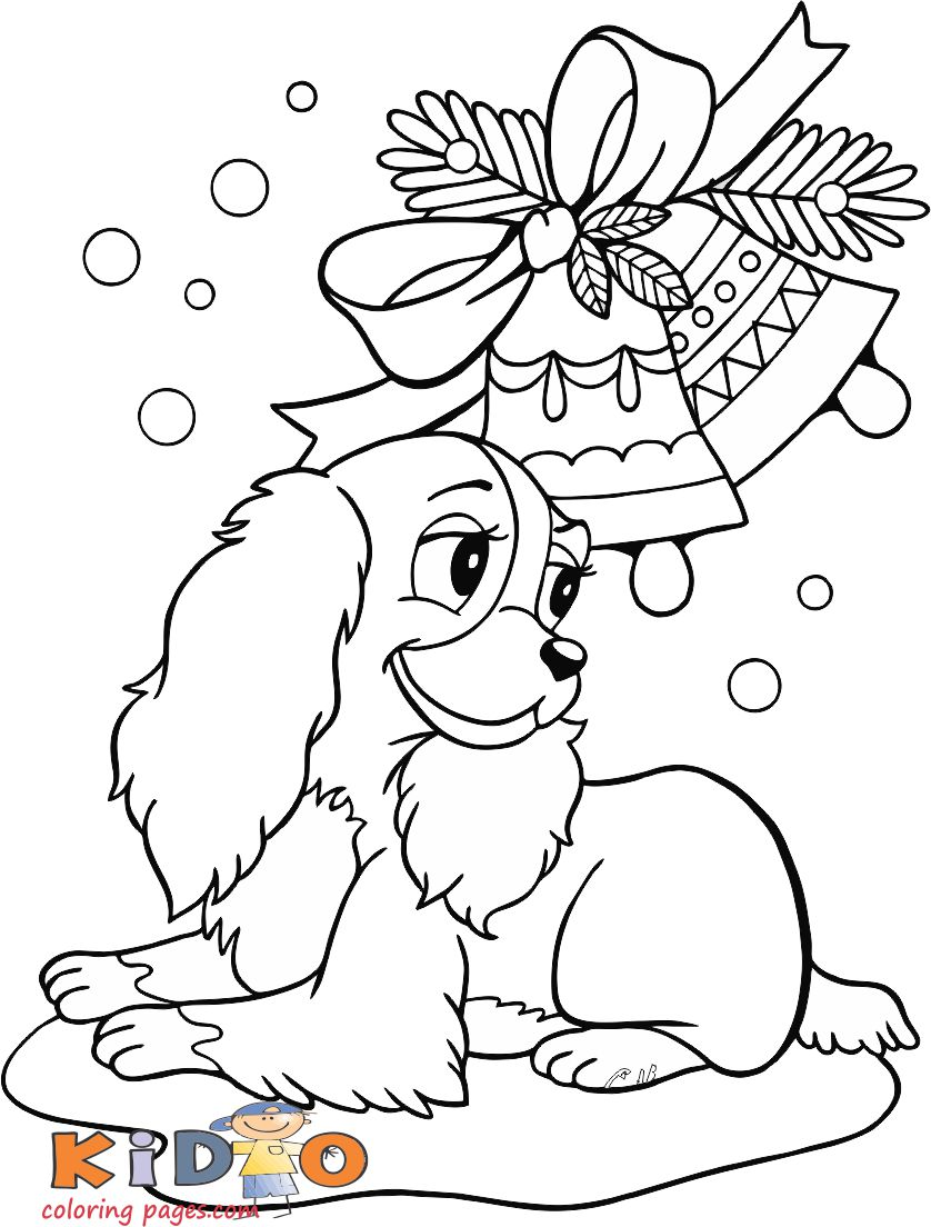 christmas cute coloring pages of puppy