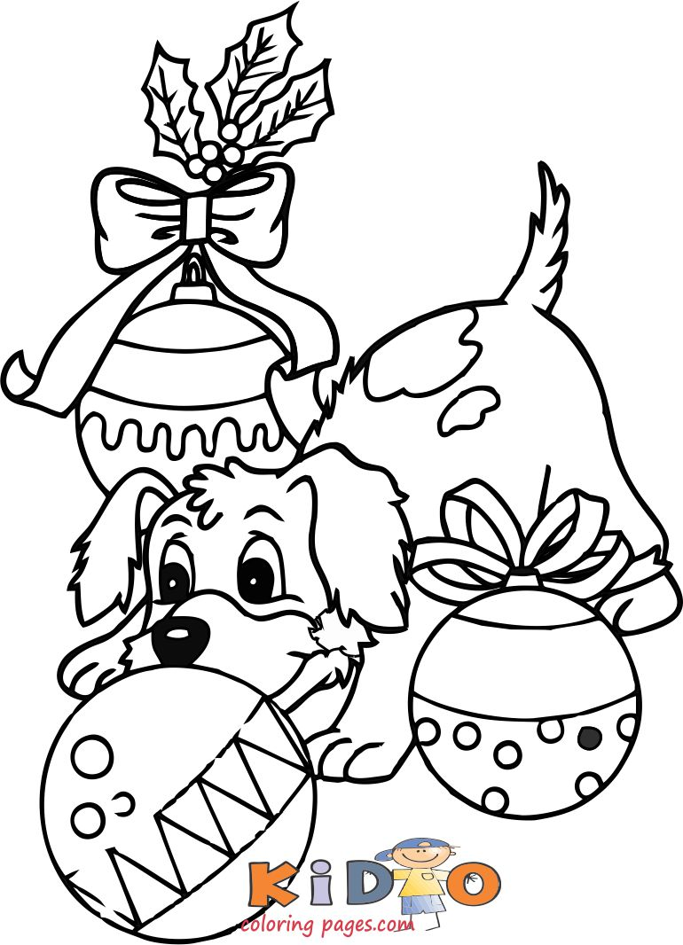 dog christmas baubles colouring pages