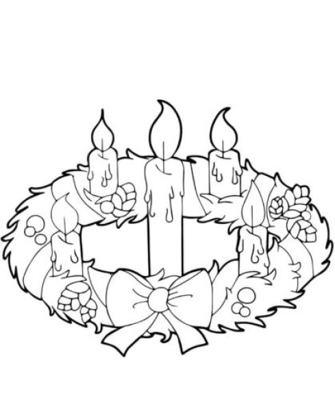 advent wreath candles coloring page