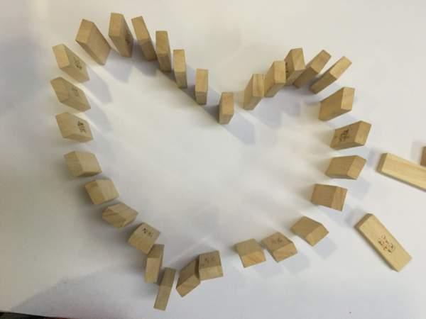 Valentine Jenga tiles Activity for kids